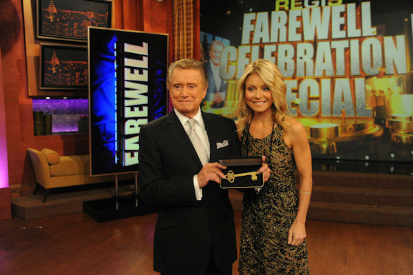 "<div class=""meta image-caption""><div class=""origin-logo origin-image ""><span></span></div><span class=""caption-text"">Regis Philbin, left, and Kelly Ripa pose with a key to the city, bestowed to Philbin by New York Mayor Michael Bloomberg, on ""Live! with Regis and Kelly,"" Friday, Nov. 18, 2011 in New York. Friday is Philbin's last day on the popular morning show.  (Disney-ABC Domestic Television, David Russell)</span></div>"