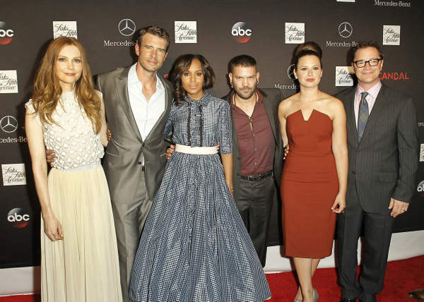 "<div class=""meta ""><span class=""caption-text "">SCANDAL - ""Scandal"" stars Kerry Washington, Scott Foley, Guillermo Diaz, Katie Lowes, Darby Stanchfield and Josh Malina along with creator and Executive Producer Shonda Rhimes, Executive Producer Betsy Beers, and Emmy Winning Wardrobe Designer Lyn Paolo, celebrated the season 3 premiere and Scandal window installation at Saks 5th Avenue in NYC on Wednesday, October 2. The hit series, from ABC Studios, premieres Thursday, October 3 (10:00-11:00 p.m., ET) on the ABC Television Network. (ABC/Lou Rocco) DARBY STANCHFIELD, SCOTT FOLEY, SHONDA RHIMES, KERRY WASHINGTON, GUILLERMO DIAZ, KATIE LOWES, JOSHUA MALINA (ABC Photo/ Lou Rocco)</span></div>"