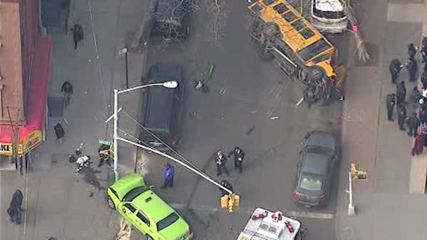 "<div class=""meta image-caption""><div class=""origin-logo origin-image ""><span></span></div><span class=""caption-text"">A small school bus carrying students overturned Monday afternoon in Bedford-Stuyvesant.</span></div>"
