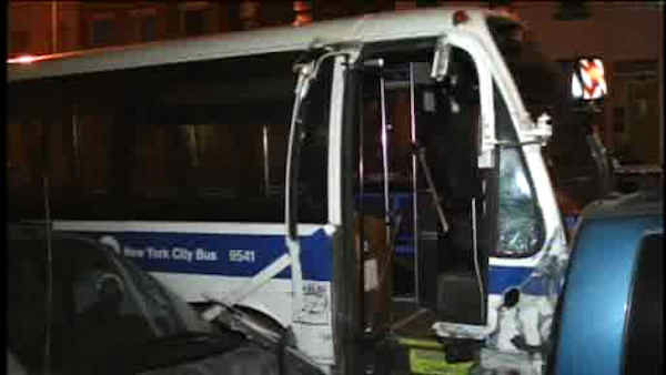 Five people were injured when an MTA bus went out of control and hit several parked cars in Greenpoint Friday night.