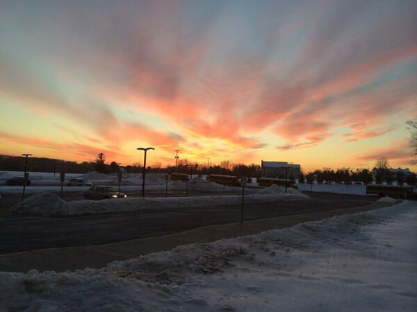 Despite the frigid temperatures, the sky was nonetheless gleaming with a bright, colorful sunset Friday evening.
