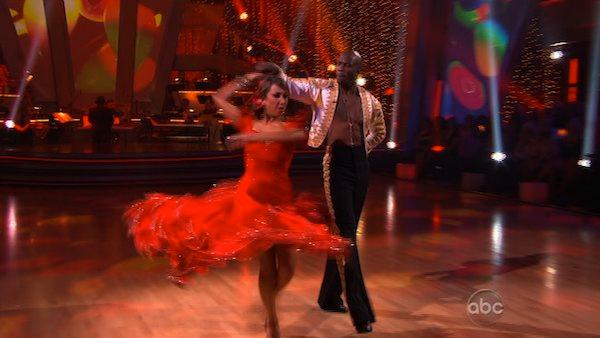 NFL star Chad Ochocinco and partner Cheryl Burke perform the paso doble on week three of 'Dancing With the Stars.'