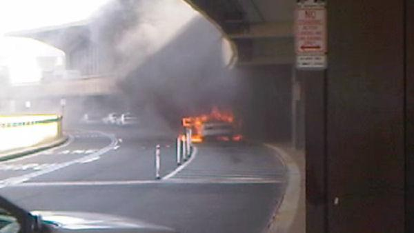 Taxi fire at Newark Liberty International Airport