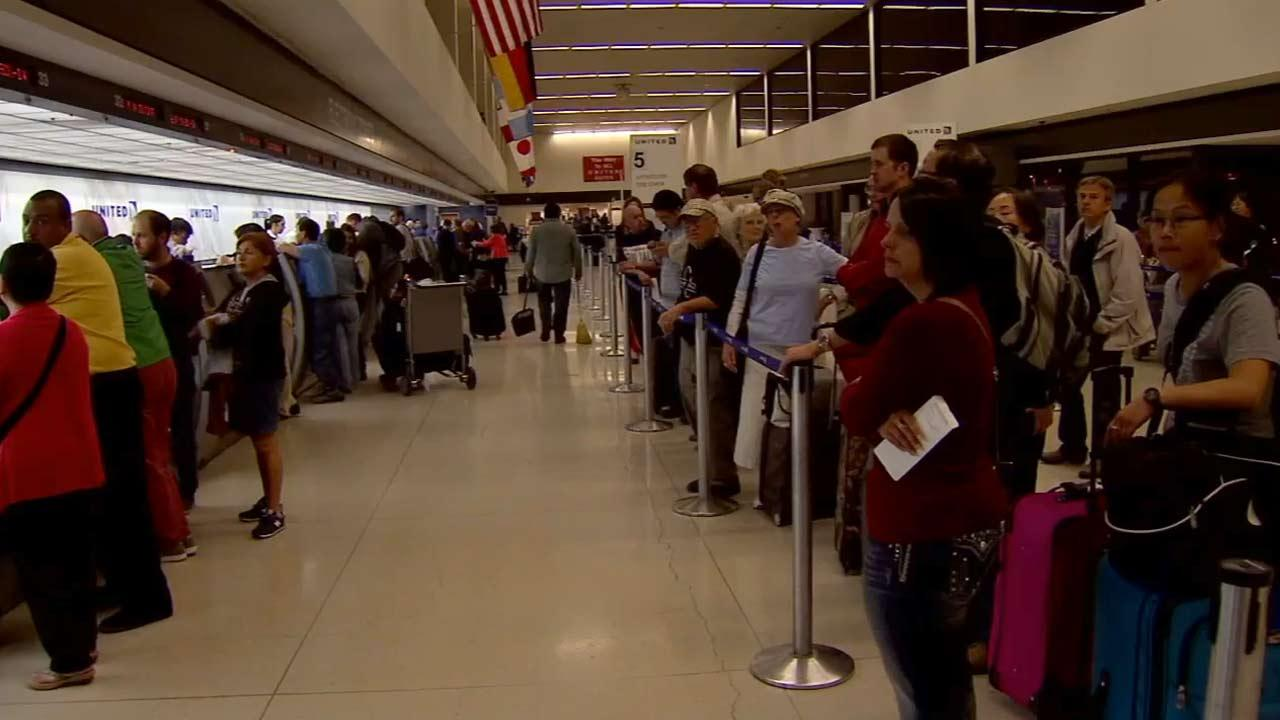 Hundreds of travelers were stranded at LAX as a result of superstorm Sandy on Monday, Oct. 29, 2012.