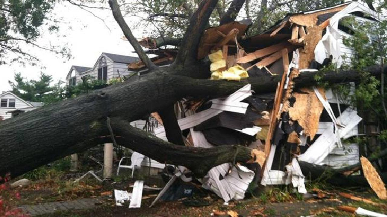 Damage from the aftermath of Hurricane Sandy is seen in Edgely, Pa. on Tuesday, Oct. 30, 2012.Twitter/aquamarina45