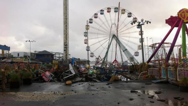 Damage is seen at FunTown Amusement Pier in Seaside Park, N.J. in the