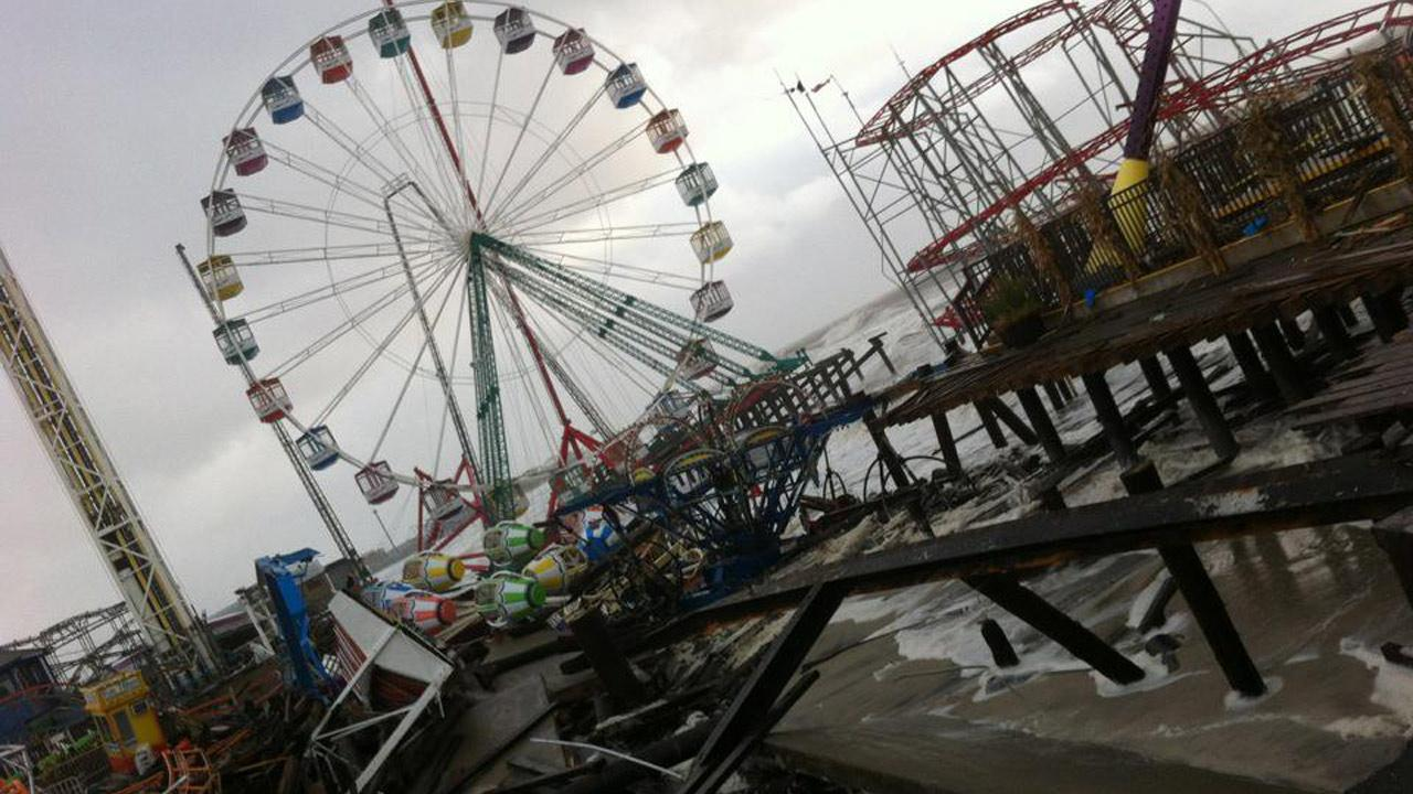 Damage is seen at FunTown Amusement Pier in Seaside Park, N.J. in the wake of Superstorm Sandy on Tuesday, Oct. 30, 2012.Tim Husar and Jan Humphreys
