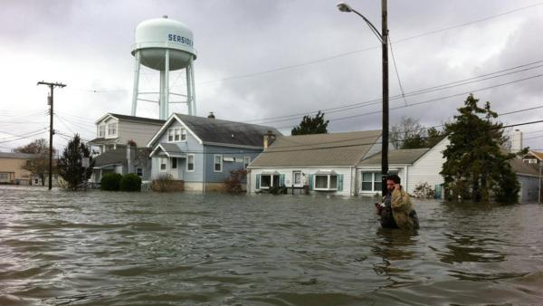 A flooded street in Seaside Park, N.J., is seen in the wake of Superstorm Sandy on Tuesday, Oct. 30, 2012.