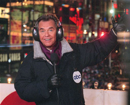 ** FILE ** In this undated publicity photo from ABC, Dick Clark brings in the New Year from New York&#39;s Times Square.   &#40;AP Photo&#47;ABC, Donna Svennevik, File&#41; <span class=meta>(AP Photo&#47; DONNA SVENNEVIK)</span>