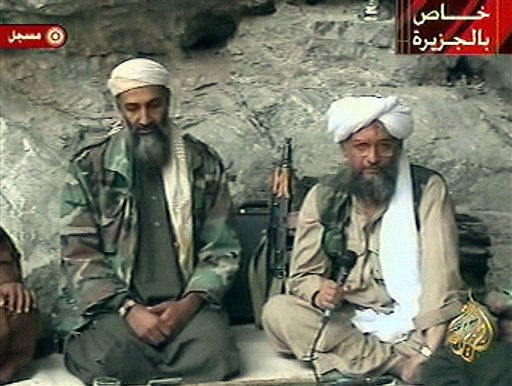 FILE - In this Oct. 7, 2001 file photo, Osama bin Laden, left, and his top lieutenant Egyptian Ayman al-Zawahri, right, are seen at an undisclosed location in this television image broadcast. Al-Qaida has selected its longtime No. 2, Ayman al-Zawahri, to succeed Osama bin Laden following last month&#39;s U.S. commando raid that killed the terror leader, according to a statement posted Thursday, June 16, 2011 on a website affiliated with the network. &#40;AP Photo&#47;Al-Jazeera, File&#41; <span class=meta>(AP Photo&#47; PDS JM JF MA**NY** BC AJP**LON**)</span>