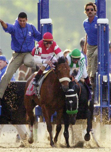 FILE - In this June 8, 2002, file photo, War Emblem and jockey Victor Espinoza, right, stumble into Magic Weisner and jockey Richard Migliore as they leave the starting gate during the Belmont Stakes horse race at Belmont Park in Elmont, N.Y. The front-running War Emblem never recovered from the early collision, resulting in an eighth-place finish behind 70-1 long shot Sarava. As I&#39;ll Have Another prepares to attempt to win the Belmont Stakes in his quest to become the 12th Triple Crown champion and first in 34 years on Saturday, June 9, 2012, The Associated Press takes a look at some of the 19 horses who won the Kentucky Derby and the Preakness, but came up short in the final leg of the Triple Crown, and how the race unfolded. &#40;AP Photo&#47;Dave Martin, File&#41; <span class=meta>(AP Photo&#47; Dave Martin)</span>