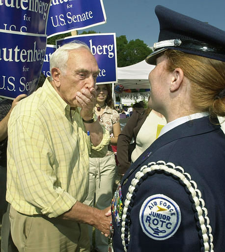 Former Sen. Frank Lautenberg, left, reacts after getting the rank of ROTC cadet Lt. Col. Jennifer Camacho wrong, during his campaign for U.S. Senate in Old Bridge, N.J. Saturday, Oct. 5.  2002.  &#40;AP Photo&#47;Daniel Hulshizer&#41; <span class=meta>(AP Photo&#47; DANIEL HULSHIZER)</span>