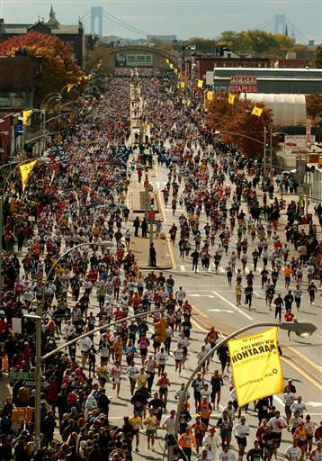 Runners make their way down both sides of Fourth Avenue in the Brooklyn borough of New York, Sunday, Nov. 3, 2002, during the annual New York City Marathon. &#40;AP Photo&#47;Kathy Willens&#41; <span class=meta>(AP Photo&#47; KATHY WILLENS)</span>