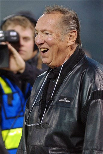FILE - In this Dec. 2, 2002 file photo, Oakland Raiders owner Al Davis smiles before the Raiders&#39; NFL football game against the New York Jets, in Oakland, Calif. Davis has died, the Oakland Raiders announced Saturday, Oct. 8, 2011. &#40;AP Photo&#47;Paul Sakuma&#41; <span class=meta>(AP Photo&#47; Paul Sakuma)</span>