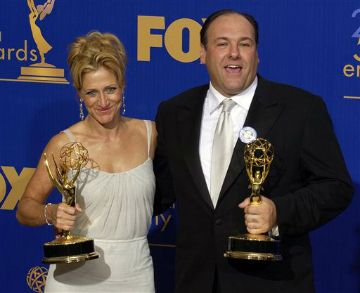 FILE - This Sept. 21, 2003 file photo shows actors Edie Falco, left, and James Gandolfini  with the awards they won for outstanding lead actress and actor in a drama series for their work on The Sopranos at the 55th Annual Primetime Emmy Awards at the Shrine Auditorium in Los Angeles. HBO and the managers for Gandolfini say the actor died Wednesday, June 19, 2013, in Italy. He was 51.&#40;AP Photos&#47;Mark J. Terrill, file&#41; <span class=meta>(AP Photo&#47; MARK J. TERRILL)</span>