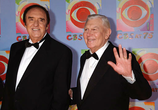 Actors Jim Nabors, left, and Andy Griffith arrive to CBS&#39;s 75th anniversary celebration Sunday, Nov. 2, 2003, in New York.  &#40;AP Photo&#47;Louis Lanzano&#41; <span class=meta>(AP Photo&#47; LOUIS LANZANO)</span>