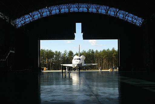 The Space Shuttle Enterprise is moved into the new Steven F. Udvar-Hazy Center at Dulles Airport in Chantilly, Va. Thursday, Nov. 20, 2003. This is the last large artifact that will be moved before the offical opening of the museum annex on Dec. 15. &#40;AP Photo&#47;Lisa Nipp&#41; <span class=meta>(AP Photo&#47; LISA NIPP)</span>