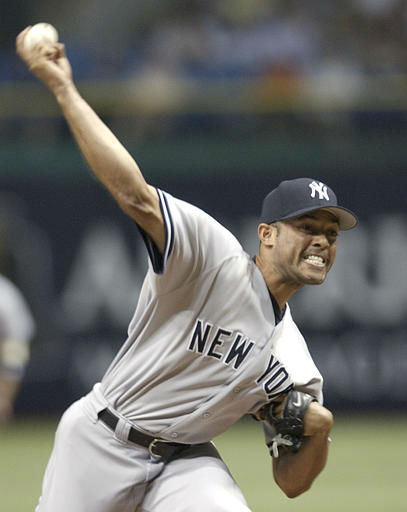 New York Yankees closer Mariano Rivera throws against the Tampa Bay Devil Rays enroute to a 5-3 win Saturday night, May 29, 2004 in St. Petersburg, Fla. &#40;AP Photo&#47;Scott Martin&#41; <span class=meta>(AP Photo&#47; SCOTT MARTIN)</span>