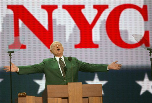 Former New York City Democratic Mayor Ed Koch speaks at the first day of the Republican National Convention Monday, Aug. 30, 2004, in New York. &#40;AP Photo&#47;Joe Cavaretta&#41; <span class=meta>(AP Photo&#47; JOE CAVARETTA)</span>