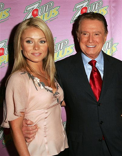 Kelly Ripa and Regis Philbin, the stars of the new 7UP PLUS TV advertising campaign, host the private unveiling of the commercials at the Great Jones Spa in New York City&#39;s NoHo on Tuesday, Oct. 19, 2004. Philbin and Ripa are appearing in the humorous spot &#34;Mothers&#34;. Kristin Davis and Cynthia Nixon, also in attendance, star in another ad spot for 7UP PLUS &#34;Pampering&#34;. &#40;AP Photo&#47;7UP, Michael Kim, HO&#41; <span class=meta>(AP Photo&#47; MICHAEL KIM)</span>