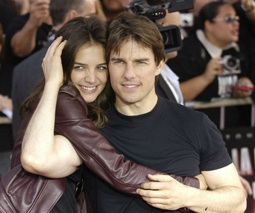 "<div class=""meta ""><span class=""caption-text "">Tom Cruise and Katie Holmes arrive at a screening of ""War of the Worlds"" in the Hollywood section of Los Angeles, Monday, June 27, 2005. (AP Photo/Chris Pizzello) (AP Photo/ Chris Pizzello)</span></div>"