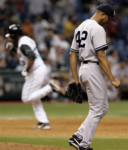 New York Yankees closer Mariano Rivera &#40;42&#41; walks around the mound in disgust after giving up a ninht inning home run to Tampa Bay Devil Rays&#39; Eddie Perez that tied the game Tuesday night Aug. 16, 2005 in St. Petersburg, Fla.  The Devil Rays went on to win the game 4-3 in 11 innings. &#40;AP Photo&#47;Chris O&#39;Meara&#41; <span class=meta>(AP Photo&#47; CHRIS O&#39;MEARA)</span>