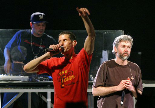 The Beastie Boys&#39; Mike Diamond, &#40;Mike D&#41;, center, Adam Yauch, &#40;MCA&#41;, right, and Mix Master Mike perform during a SXSW Music Festival &#34;suprise&#34; concert at Stubb&#39;s Barbecue in Austin, Texas, Thursday, March 16, 2006.&#40;AP Photo&#47;Jack Plunkett&#41; <span class=meta>(AP Photo&#47; JACK PLUNKETT)</span>