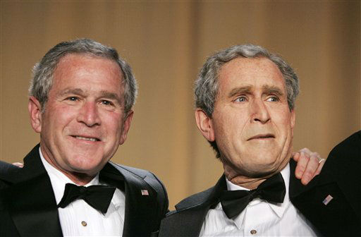 File - In this April 29, 2006 file photo, President George W. Bush, left, and Steve Bridges, a comedian and Bush impersonator pose during the White House Correspondents&#39; Association&#39;s 92nd annual awards dinner in Washington. Comic impressionist Bridges, best known for impersonating former President George W. Bush, has died at home in Los Angeles. Bridges, 48, was found unresponsive by a housekeeper on Saturday. The coroner&#39;s office says it is being investigated as an apparently natural death but an autopsy will be conducted. &#40;AP Photo&#47;Haraz N. Ghanbari, File&#41; <span class=meta>(AP Photo&#47; Haraz N. Ghanbari)</span>