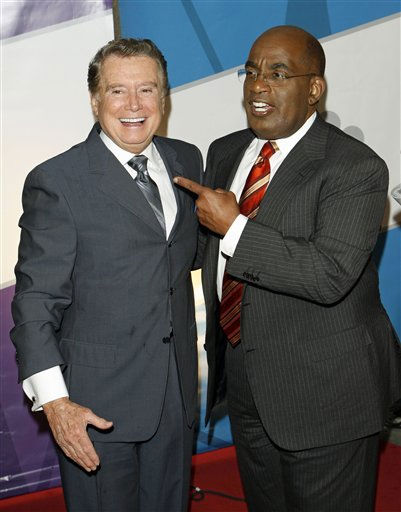 "<div class=""meta image-caption""><div class=""origin-logo origin-image ""><span></span></div><span class=""caption-text"">Emmy award-winning television talk show host Regis Philbin, left, and NBC ""Today"" television show weatherman Al Roker, right, share a joke together on the red carpet as NBC introduces its new season line-up, New York, Monday, May 15, 2006. Philbin will host a new show on the network titled ""America's Got Talent."" (AP Photo/Stuart Ramson) (AP Photo/ STUART RAMSON)</span></div>"