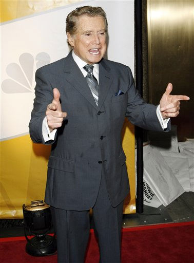 "<div class=""meta image-caption""><div class=""origin-logo origin-image ""><span></span></div><span class=""caption-text"">Emmy Award-winning television talk show host Regis Philbin poses for photographers on the red carpet as  NBC introduces its new season line-up, in New York, Monday, May 15, 2006. Philbin will host a new show on the network titled ""America's Got Talent."" (AP Photo/Stuart Ramson) (AP Photo/ STUART RAMSON)</span></div>"