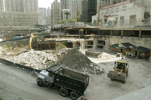 "<div class=""meta image-caption""><div class=""origin-logo origin-image ""><span></span></div><span class=""caption-text"">**ONE OF SEVEN PHOTOS BY PETER MORGAN FOR USE AS DESIRED**  Old railroad tunnels are demolished at the World Trade Center site in New York on Aug. 1, 2006. Office towers will be built at the location. September 11, 2006 is the fifth anniversary of the attacks on the trade center.  (AP Photo/Peter Morgan) (AP Photo/ PETER MORGAN)</span></div>"