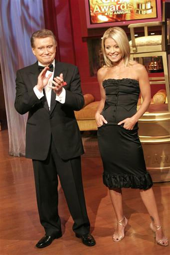 &#34;Live with Regis and Kelly&#34; hosts Regis Philbin and Kelly Ripa hosted &#34;Live&#39;s&#34; Fourth Annual Relly Awards today in New York. For the third straight year, Philbin lost out on the BEST REGIS Relly, this year to Ripa&#39;s husband, Mark Consuelos..  &#40;PRNewsFoto&#47;Buena Vista Television&#41; <span class=meta>(Photo&#47;Anonymous)</span>