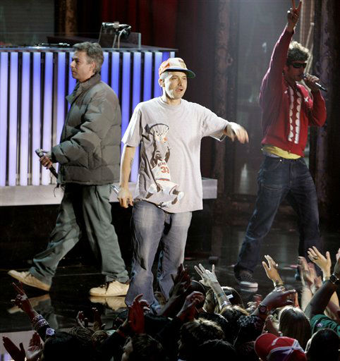 Adam Yauch, left, Adam Horovitz, center, and Mike Diamond, right of The Beastie Boys peform at the third annual VH1 Hip Hop Honors awards show Saturday, Oct. 7, 2006 in New York. The Beastie Boys were honored in the show that will air Tuesday, Oct. 17, 2006.&#40;AP Photo&#47;Frank Franklin II&#41; <span class=meta>(AP Photo&#47; FRANK FRANKLIN II)</span>