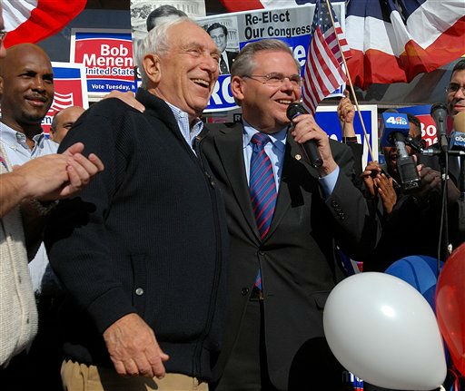 U.S. Senators Frank Lautenberg, D-N.J., left, and Robert Menendez, D-N.J., rally Latino voters for Menendez at a campaign stop in Hackensack, N.J., Saturday, Nov. 4, 2006. &#40;AP Photo&#47;Jackie Schear&#41; <span class=meta>(AP Photo&#47; JACKIE SCHEAR)</span>