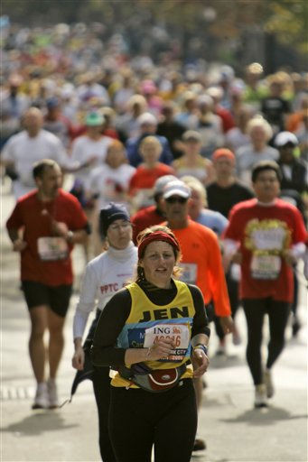"<div class=""meta ""><span class=""caption-text "">Participants run in the New York City Marathon in the Brooklyn Borough of New York, Sunday, Nov. 5, 2006. Over 35,000 participants took part in the 26.2-mile marathon course passes through all five boroughs of New York City. (AP Photo/Mary Altaffer) (AP Photo/ MARY ALTAFFER)</span></div>"