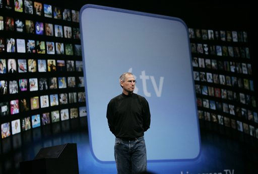 Apple CEO Steve Jobs demonstrates the new AppleTV during his keynote address at MacWorld Conference &amp; Expo in San Francisco, Tuesday, Jan. 9, 2007. &#40;AP Photo&#47;Paul Sakuma&#41; <span class=meta>(AP Photo&#47; PAUL SAKUMA)</span>