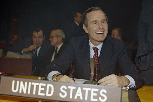 "<div class=""meta image-caption""><div class=""origin-logo origin-image ""><span></span></div><span class=""caption-text"">George Bush, U.S. Ambassador to the United Nations is shown at U.N. headquarters in New York in 1971. (AP Photo) (AP Photo/ Anonymous)</span></div>"