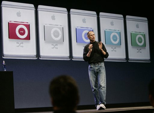 Apple CEO Steve Jobs introduces new colors in the Apple iPod Shuffle in San Francisco, Wednesday, Sept. 5, 2007. &#40;AP Photo&#47;Paul Sakuma&#41; <span class=meta>(AP Photo&#47; Paul Sakuma)</span>