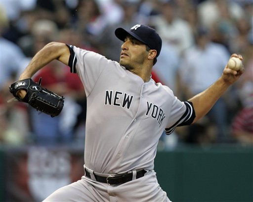 **FILE** New York Yankees&#39; Andy Pettitte pitches against the Cleveland Indians in the second inning of Game 2 the American League Division baseball series, in this Oct. 5, 2007 file photo in Cleveland. Pettitte declined his US&#36;16 million option to return to the Yankees, Monday, Nov. 5, 2007, still uncertain whether he wants to pitch next season.&#40;AP Photo&#47;Tony Dejak, File&#41; <span class=meta>(AP Photo&#47; Tony Dejak)</span>