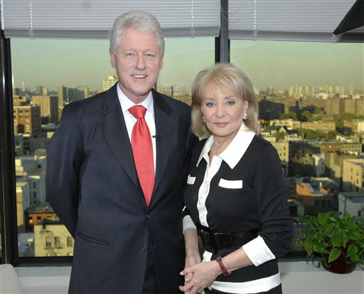 ** ADVANCE FOR WEEK OF DEC.2**This photo released by ABC shows former President Bill Clinton,left, and Barbara Walters. Clinton will be spotlighted on &#34;Barbara Walters Presents: The 10 Most Fascinating People of 2007&#34;, an hour-long ABC News special highlighting some of the year&#39;s most prominent names in entertainment, sports, politics and business. The show airs Dec. 6.  &#40;AP Photo&#47;ABC, Ida Mae Astute&#41; <span class=meta>(AP Photo&#47; IDA MAE ASTUTE)</span>