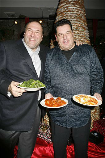 "<div class=""meta ""><span class=""caption-text "">In this photo provided by Lifeskool TV,  Sopranos' stars James Gandolfini, left, and Steve Schirripa celebrate the launch of Steve's new Italian cooking show, ""Steve Schirripa's Hungry"" on Lifeskool TV, Wednesday, Dec. 5, 2007, in New York. (AP Photo/Lifeskool TV, Diane Bondareff) (AP Photo/ Diane Bondareff)</span></div>"