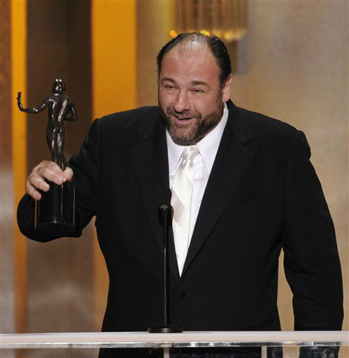 "<div class=""meta image-caption""><div class=""origin-logo origin-image ""><span></span></div><span class=""caption-text"">FILE - This Jan. 27, 2008 file photo shows actor James Gandolfini accepting the award for outstanding performance by a male actor in a drama series for his work in ""The Sopranos"" at the 14th Annual Screen Actors Guild Awards in Los Angeles. HBO and the managers for Gandolfini say the actor died Wednesday, June 19, 2013, in Italy. He was 51. (AP Photo/Mark J. Terrill, file) (AP Photo/ Mark J. Terrill)</span></div>"