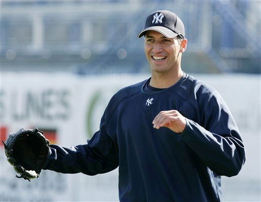 New York Yankees pitcher Andy Pettitte smiles broadly after throwing to test the condition of his bothersome back in a workout at Legends Field in Tampa, Fla., Tuesday, March 25, 2008.  Pettitte will miss his first scheduled start of the regular season on April 2 against Toronto because of back spasms.  &#40;AP Photo&#47;Kathy Willens&#41; <span class=meta>(AP Photo&#47; Kathy Willens)</span>