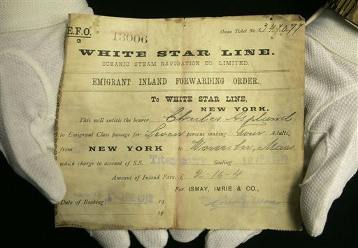 A unique emigrant inland forwarding order to the White Star office in New York, is seen at Henry Aldridge and Son auctioneers in Devizes, Wiltshire, England Thursday, April 3, 2008. The order, expected to fetch 20,000-30,000 pounds, US&#36; 39,000-59,000, euro25,000-38,000 was recovered from the body of Carl Asplund who drowned on the Titanic and is part of the Lillian Asplund collection of Titanic related items which go on auction on April 19.  Asplund was 5 in April 1912, when the Titanic hit an iceberg and sank on its maiden voyage from England to New York. Her father and three siblings were among 1,500 people who died. &#40;AP Photo&#47;Kirsty Wigglesworth&#41; <span class=meta>(AP Photo&#47; Kirsty Wigglesworth)</span>