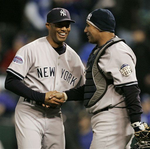"<div class=""meta ""><span class=""caption-text "">New York Yankees pitcher Mariano Rivera, left, is congratulated by catcher Jose Molina following the Yankees' 6-1 win over the Kansas City Royals during a baseball game in Kansas City, Mo., Thursday, April 10, 2008. (AP Photo/Orlin Wagner) (AP Photo/ Orlin Wagner)</span></div>"