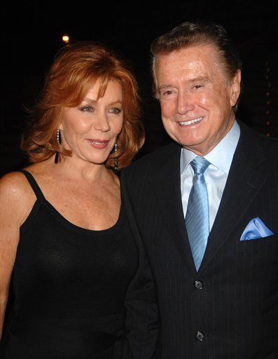 "<div class=""meta image-caption""><div class=""origin-logo origin-image ""><span></span></div><span class=""caption-text"">TV Personality Regis Philbin and Joy Philbin arrive at the Vanity Fair party for the 2008 Tribeca Film Festival held at the State Supreme Courthouse on Tuesday, April 22, 2008, in New York. (AP Photo/Peter Kramer) (AP Photo/ Peter Kramer)</span></div>"