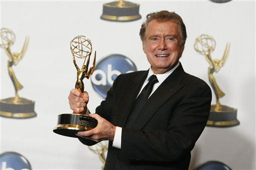 "<div class=""meta ""><span class=""caption-text "">Regis Philbin poses backstage with his Lifetime Achievement Award at the 35th Annual Daytime Emmy Awards in Los Angeles on Friday, June 20, 2008. (AP Photo/Dan Steinberg) (AP Photo/ Dan Steinberg)</span></div>"