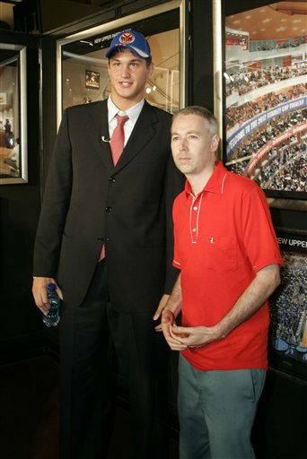 Danilo Gallinari poses with Adam Yauch &#40;MCA&#41; of the hip hop group Beastie Boys after being selected 6th by the New York Knicks in the first round of the  NBA basketball Draft Thursday, June 26, 2008  in New York.  &#40;AP Photo&#47;Frank Franklin II&#41; <span class=meta>(AP Photo&#47; Frank Franklin II)</span>