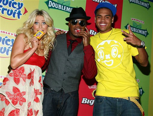 In this photo released by Wrigley&#39;s, Julianne Hough, Ne-Yo, center, and Chris Brown arrive at a free concert held at Nokia Theater in New York City&#39;s Times Square, Tuesday, July 29, 2008. &#40;AP Photo&#47;Wrigley&#39;s, Sara Jaye Weiss&#41; **NO SALES** <span class=meta>(AP Photo&#47; Sara Jaye Weiss)</span>
