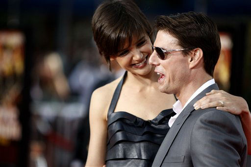 Tom Cruise, right, and Katie Holmes arrive at the premiere of &#34;Tropic Thunder&#34; in Los Angeles on Monday, Aug. 11, 2008.  &#40;AP Photo&#47;Matt Sayles&#41; <span class=meta>(AP Photo&#47; Matt Sayles)</span>